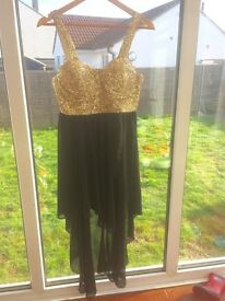Cocktail dress gold & black sequin size 14 prom ball races