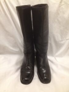 Ladies Black College Genuine Leather Tall Winter Boots 9M