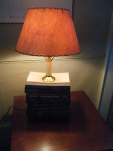 BOOK  LAMP WITH VINTAGE SHADE