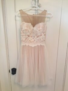 Size 2-4 Hand Sewn, Lace, Sheer, Short Gown