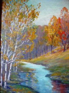 "Colorful Original Oil Study ""After the Storm"" by M. Rowntree Stratford Kitchener Area image 2"
