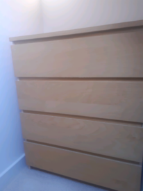 IKEA Malm 4 Drawer Chest Birch