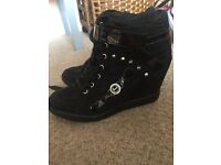 Guess black suede wedges ankle hight boots UK size 6