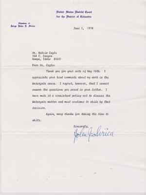 SIGNED JUDGE JOHN J. SIRICA AUTOGRAPHED LETTER - WATERGATE