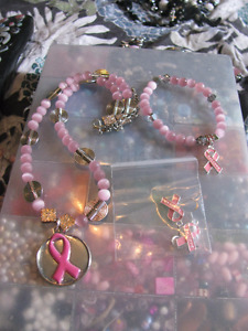 Breast Cancer Awareness Jewelry Sets.  50% goes to Cancer Care!