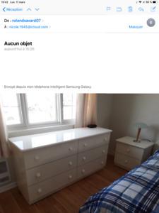 Set de chambre complet blanc laqué,