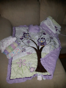 Owl baby girls crib bedding set