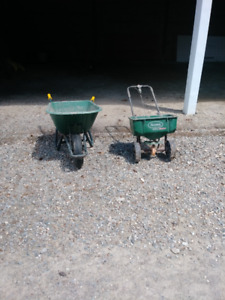 Wheelbarrow & Fertilizer Spreader