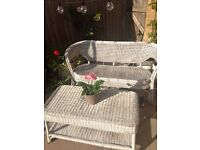Wicker sofa and table
