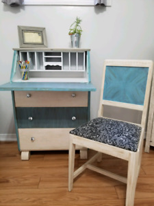 Refinished Vintage Secretary Desk & Chair