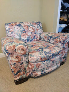 Floral comfy chair for $80.00 obo