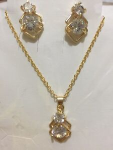 New 18K Yellow Gold Plated Earrings Necklace Jewelry set