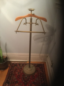 Vintage Brass and Wood Clothing Valet Butler Stand 70's?
