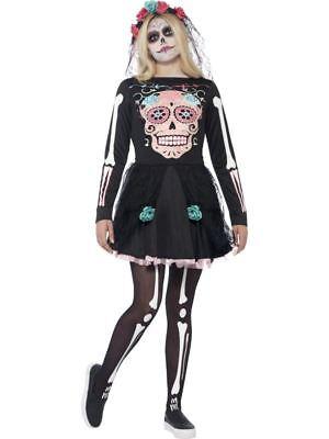 Zuckerschädel Bonbon Halloween Braut Kostüm Mexikanischer Skelett Teen - Schädel Braut Kostüm