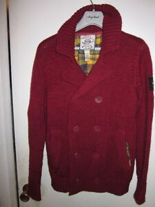 MENS DIESEL RED CABLE KNIT SAILOR SWEATER JACKET
