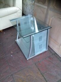 TV stand in silver and glass