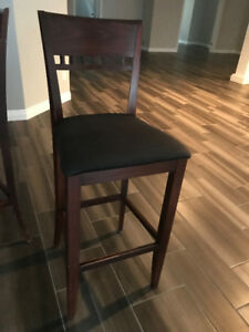 Bar stools dark cherry- black upholstery