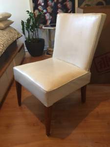 Vintage white vinyl leather look wooden arm chair