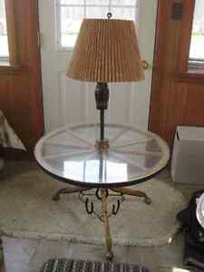 Wagon Wheel Table and Lamp