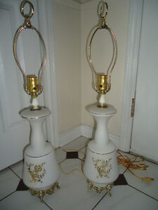 VINTAGE MATCHING GLASS LAMPS - $20 FOR THE PAIR