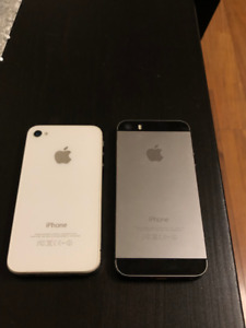 Used iPhone 4s (white) and 5s (space grey)