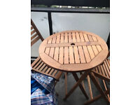 Small Foldable Wooden Table Plus Two Foldable Chairs Bargain