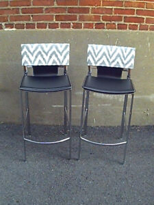 2 Leather and Chrome Barstools