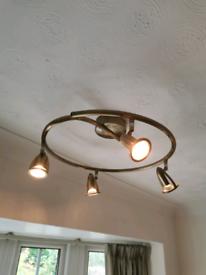 5 Spotlight Ceiling Light - Halogen Lamp Bulbs - Brushed Bronze