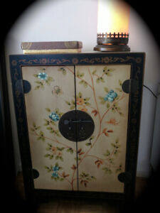 Cabinet Oriental Hand Painted Display Storage Cabinet