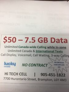 $50 7.5GB DATA UNLIMITED CALL TXT  US & CANADA