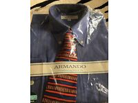 Blue long sleeve striped shirt with tie