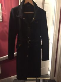 WORN ONCE BEAUTIFUL ZARA SMART BLACK COAT JACKET WITH BELT HEAVY GOOD QUALITY ZARA EUR XL 14