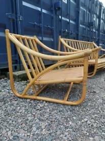 Mid century bamboo Italian vintage Sofa and lounge chair