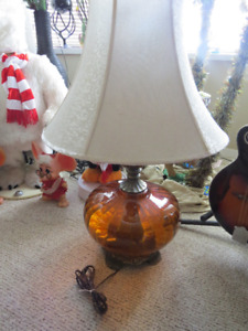 Pair of RETRO Vintage Amber glass lamps with night light and sha