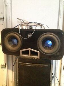 """2 10"""" Power Acoustik Mofo Subs and Amp"""