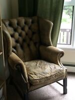Antique Leather Wing Back Chair - Down feather cushion