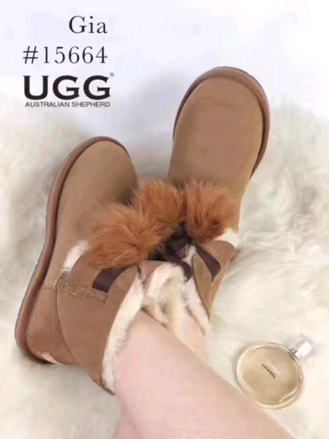 717e436da34 Ever UGG Ladies Mini Boots with Ribbon Pom Pom Gia | Women's ...