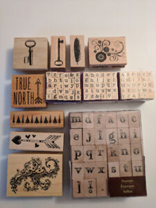 Lot of stamps (15 + Multi-Theme Wooden Block Stamps)
