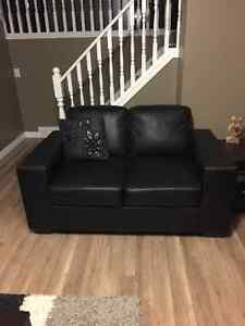 Black Bonded leather sofa and loveseat London Ontario image 1