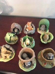 9 Collectibles from Woodland Surprises.  Franklin Porcelain 1984