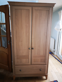 Large Tall Light Wood Wardrobe Metal Handles
