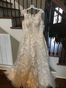 Oleg Cassini Size 12 Wedding Ball Gown Ivory Champagne CWG658