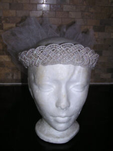 Faux Pearl Tiara With Soft Tulle Puff For Wedding