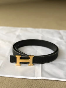 Hermes Black Leather belt with gold buckle