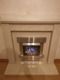 Marble Fireplace and gas fire.