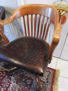antique vintage krug swivel office chair, awesome new leather
