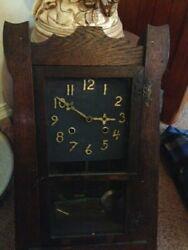 Antique 19th C. Wood Pendulum Key Wind Wall Clock