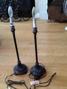 Two decorative matching table lamps