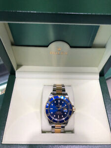 Rolex Submariner Two-Tone 18K YG, 40mm Blue Dial.