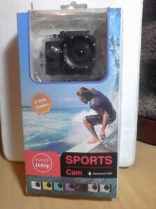 Sports cam, waterproof with accessories. new